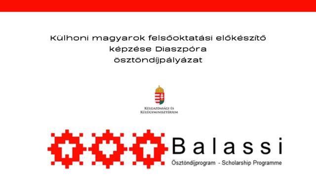 Külhoni magyarok felsőoktatási előkészítő képzése Diaszpóra ösztöndíjpályázat